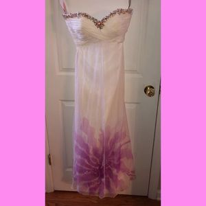 Blush prom dress with hand painting